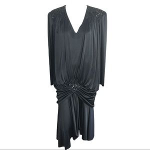 Vintage Abby Kent Black Glam Draped Sequin Dress
